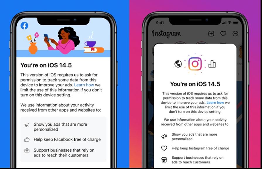 Facebook Instagram ATT iOS Prompts on cell phones